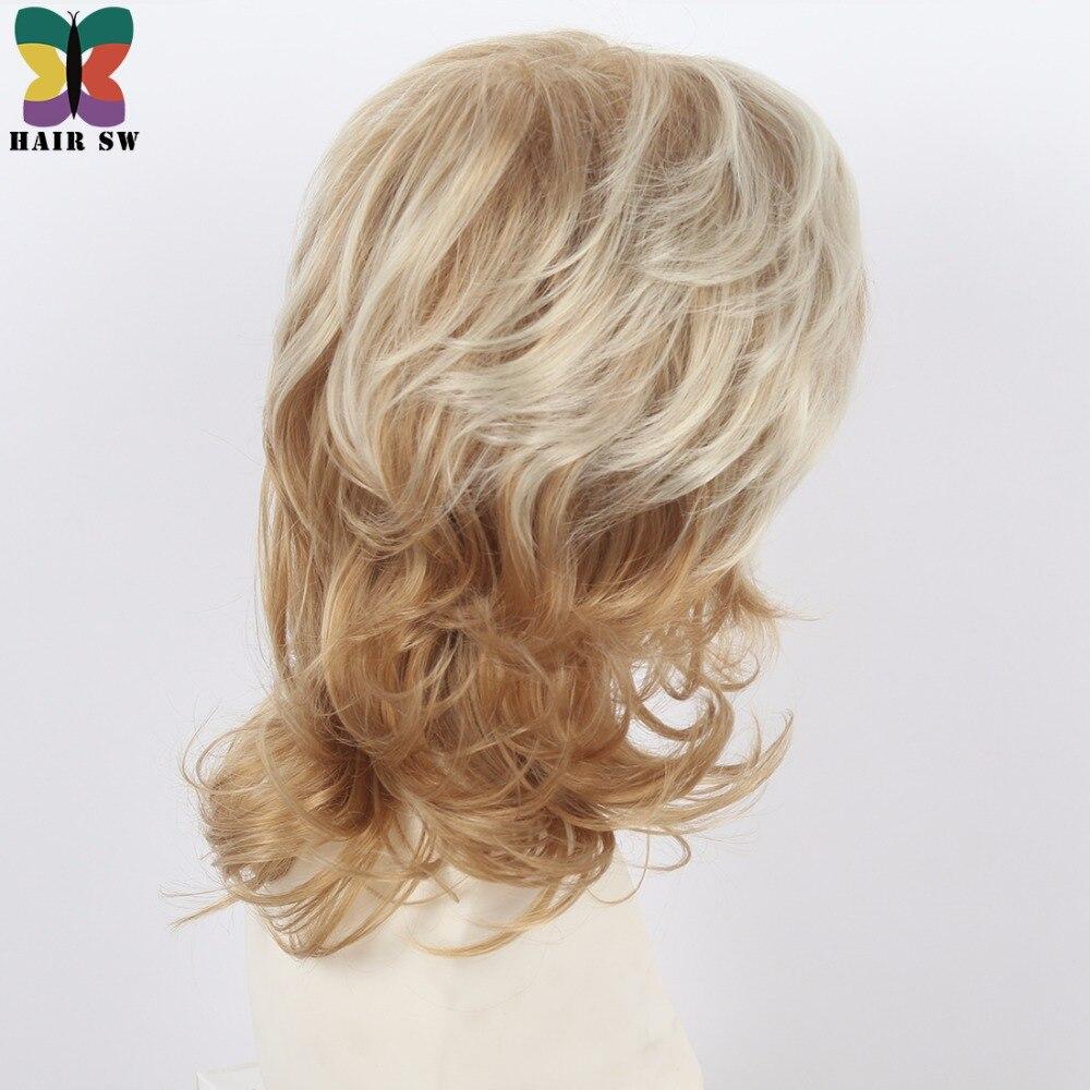 Kvinnors Medium Längd Shag Fluffy Curly Synthetic Wig Light Röd - Syntetiskt hår - Foto 4