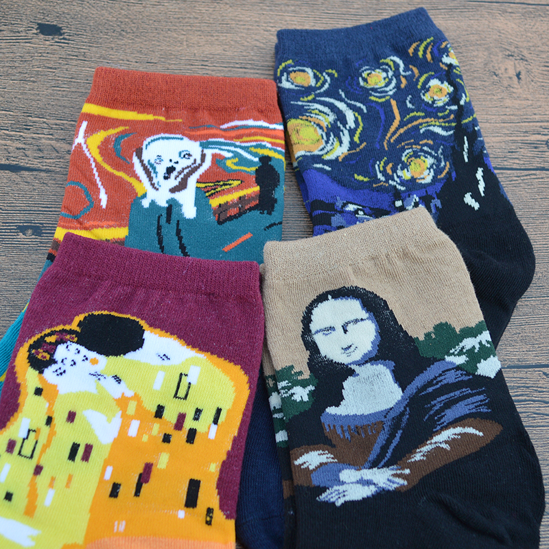 1 Pair Abstract Famous Oil Painting Art Women Socks Scream/Kiss/Starry Night/Mona Lisa Funny Women Art Crew Socks
