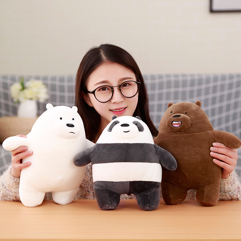 1pc 30cm We Bare bears Cartoon Bear Stuffed Grizzly Gray White Bear Panda Plush Toy Doll Kawaii Birthday Gift for Kids 65cm 1pcs panda plush toy doll cute doll girl standing panda birthday gift wedding gift giant panda stuffed animal free shipping