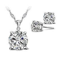 Elegant 925 Sterling Silver Cubic Zircon Stud Earrings Necklace Wedding Jewelry Sets For Brides Engagement Accessories(China)
