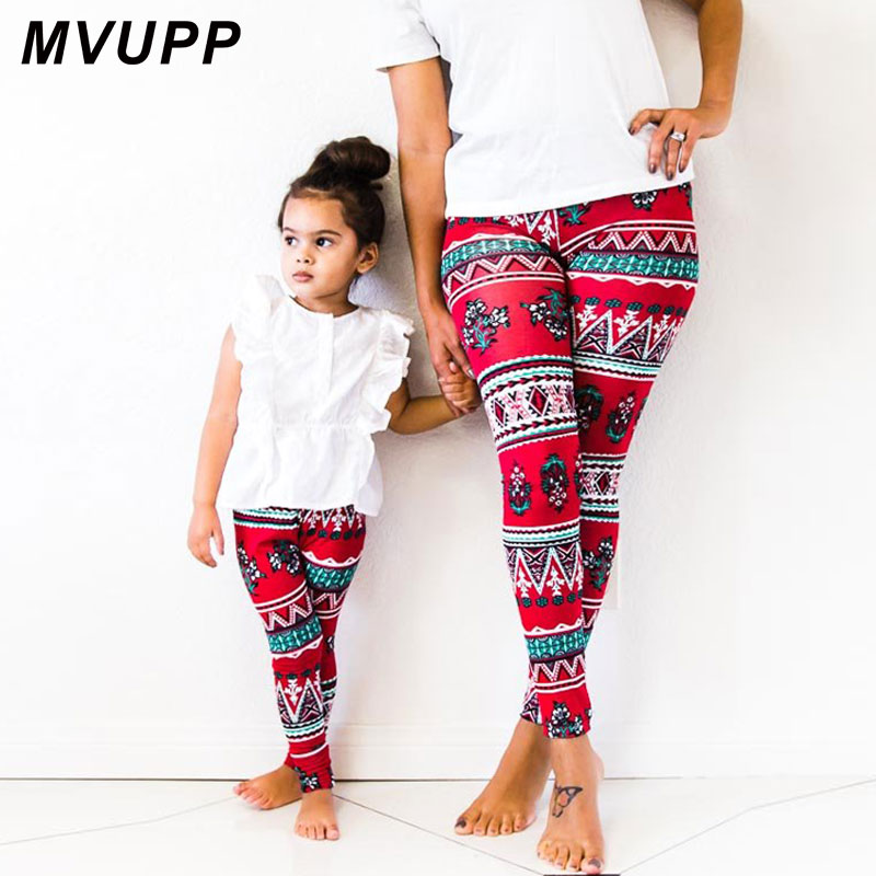 MVUPP Mother daughter clothes mommy and me girls Halloween Pants family looks Fall 2019 Fashion Capris Slim Woman Lady Leggings in Matching Family Outfits from Mother Kids