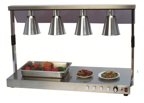 4 Head Food Warmer Lamp Luxurious Buffet Heating Lamps All Stainless Steel  Body