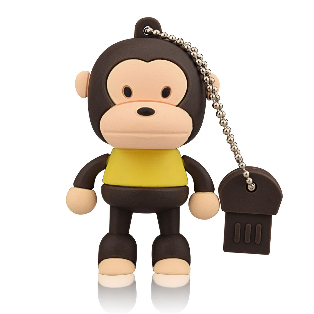 J-boxing Brown 64GB USB Flash Drive Funny Monkey Design Pendrive Memory Stick Women 16G 32GB Thumb Drive For Computer Mac Tablet