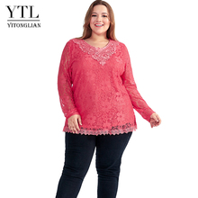 870ea711782 YTL Women Plus Size Retro Solid Pink Floral Lace Blouse Long Sleeve V Neck  Crochet Tunic