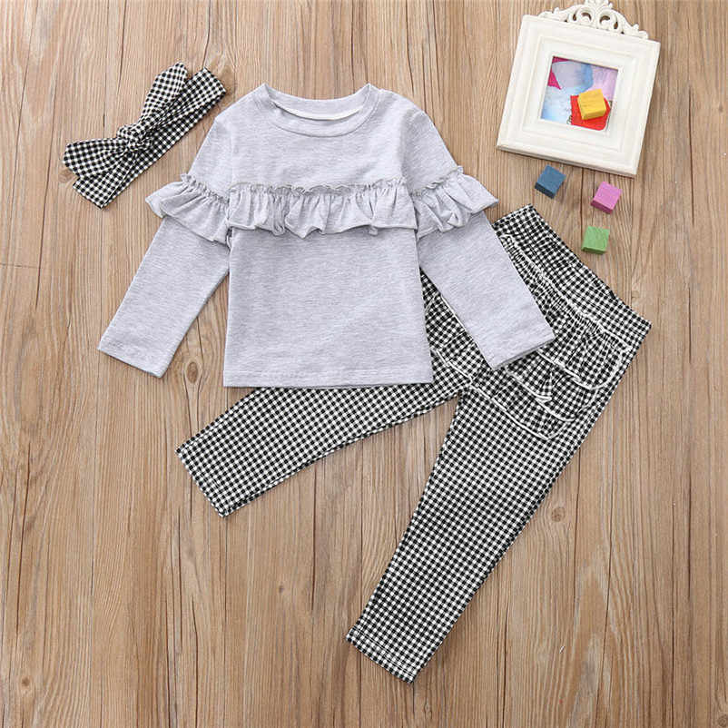 c8a64d55c0234 ... 2018 New Toddler Kids Baby Girl clothes Ruffle long sleeve Tops + plaid  Pants Leggings + ...
