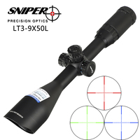 SNIPER 3 9X50 Angled Integral Sunshade Hunting Riflescope Full Size Tactical Optical Sight Mil dot Locking Rifle Scope