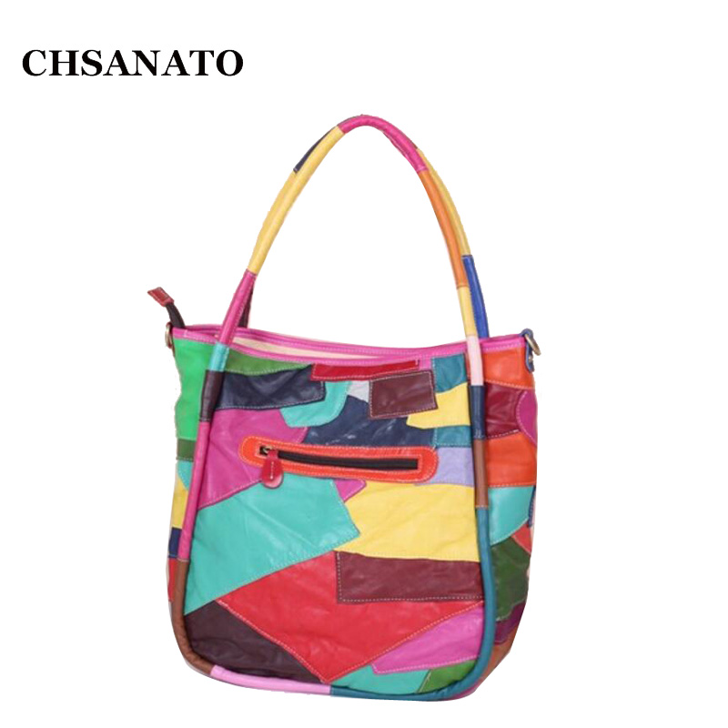 CHSANATO Europe and America Colorful Geometric Patchwork Bag Casual Genuine leather Shoulder Bags Handbags Women Famous Brand CHSANATO Europe and America Colorful Geometric Patchwork Bag Casual Genuine leather Shoulder Bags Handbags Women Famous Brand