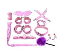 10 Piece Set Bondage Collar Hand Cuffs Ankle Cuffs Mouth Gag Ball Nipple Clamps Rope Whip Fetish Lingerie Mask Adult Games Hot