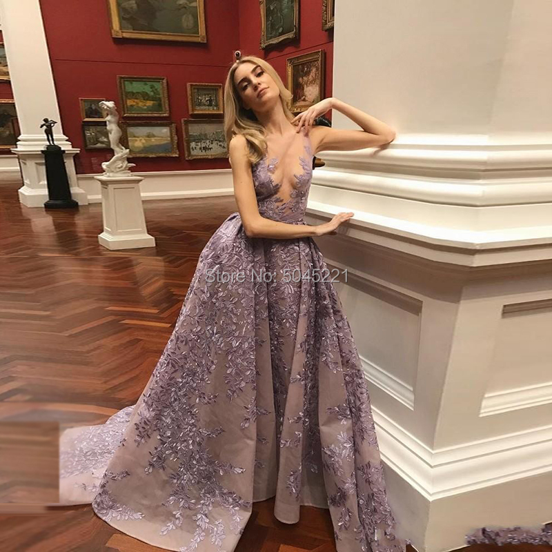 Arabic Couture New Appliques Purple Evening Dress Robe De Soiree Turkish Sleeveless Party Dress Saudi Arabic Long Prom Gown 2019