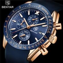 BENYAR שעון גברים למעלה מותג יוקרה הכרונוגרף שעוני יד אופנה כחול עמיד למים צבאי ספורט זכר שעון Relogio Masculino