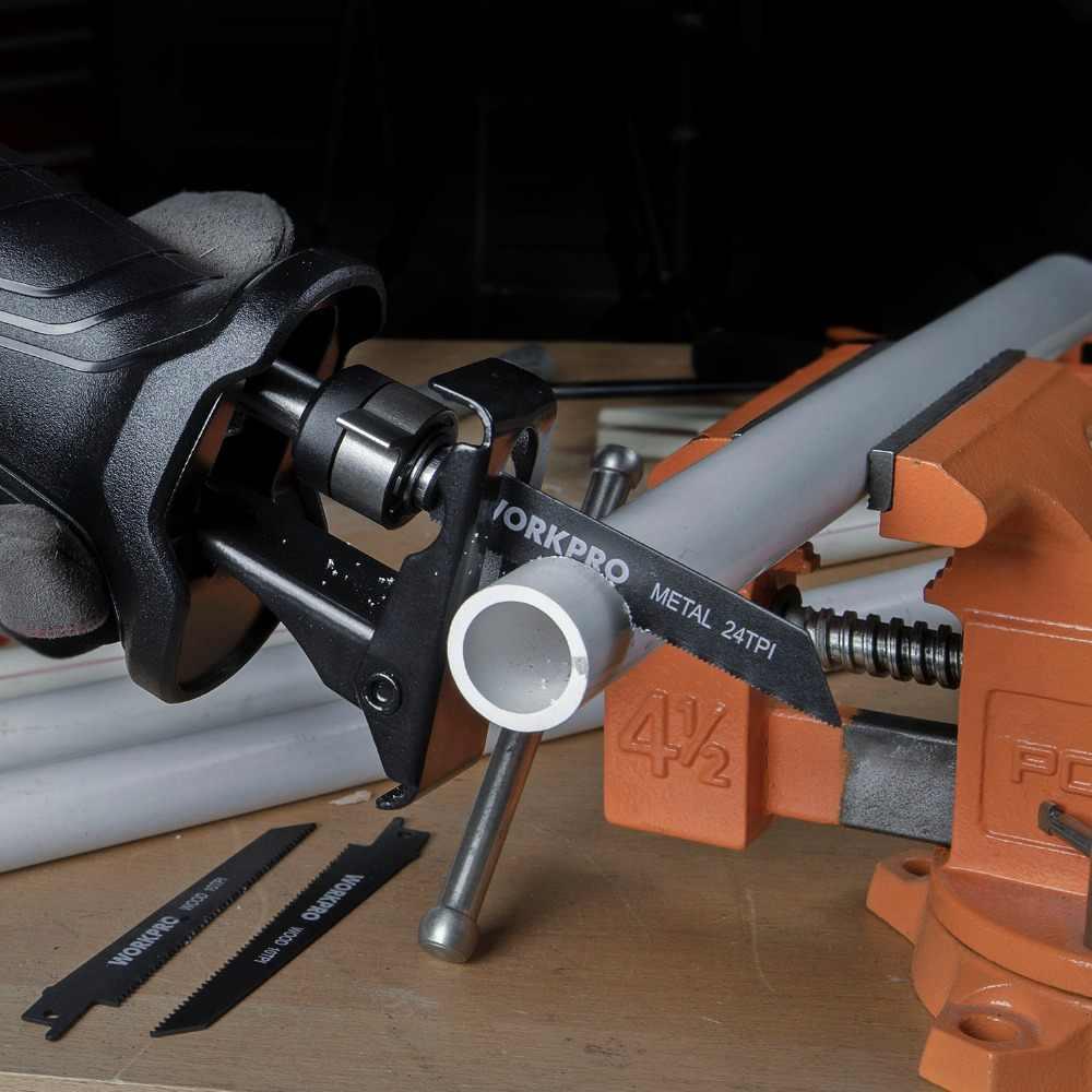 WORKPRO เลื่อยไฟฟ้าเลื่อยลูกสูบสำหรับไม้โลหะตัด DIY เลื่อยพร้อมใบเลื่อย