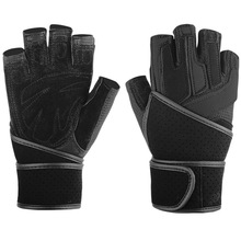 Men's Fitness Gloves Half Finger with Palm Genuine Leather 45cm Strap Wrist Protection Gym Crossfit Weight Lifting Sport Gloves mounchain adjustable leather weight lifting fitness crossfit belt lifting strap support stainless lock jaw gym fitness guard