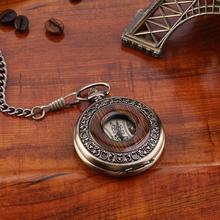 Wooden Men Pocket Watch Antique Retro Vintage Pocket Mechanical Watch Chain Bronze Silver Steampunk Men Watch New Arrivals