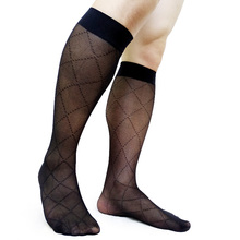 See Through Plaid Sexy Business Socks For Men Formal Dress suit Stocking High Elastic Tube Male Collection
