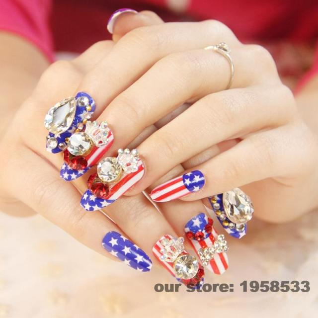 24pcs Fake Nails Long Blue Red American Flag Design Large Stones Crown Round Head Artificial False