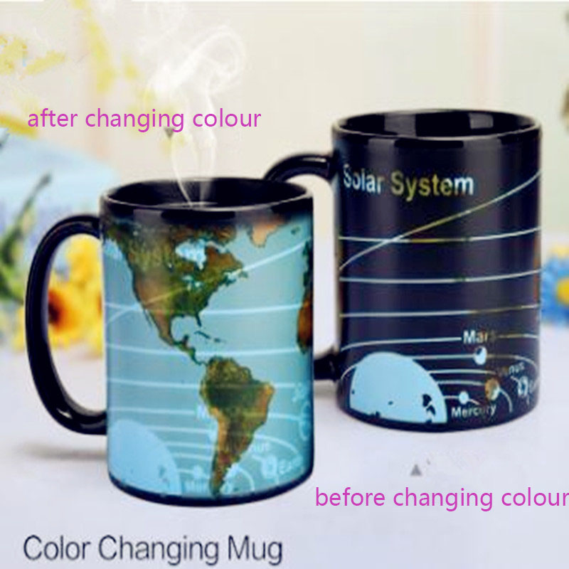 2018 New Solar System Earth Color Changing Cup Creative Gift Cup Coffee Drink World Map Mug image