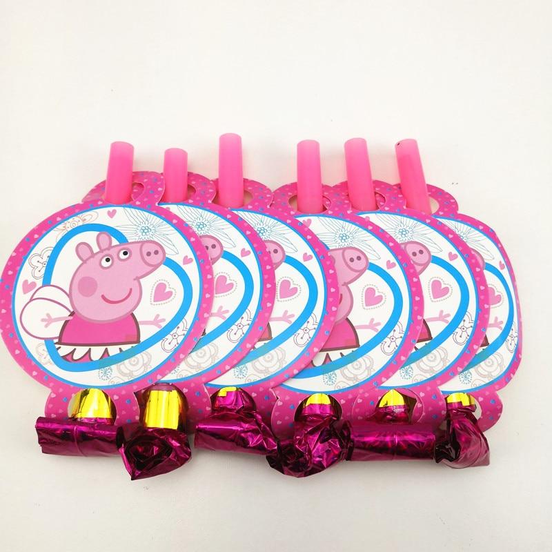 6pcs 14cm Cartoon Pink Pig Blow out Party Noise Maker Theme Party Decoration Blowout toys Party Favors