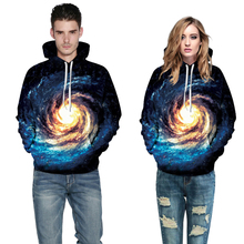 JSMY 2019 New Summer Fashion Space Galaxy Star Printing Baseball Uniform Lovers Long-sleeved Hooded Sweatshirt