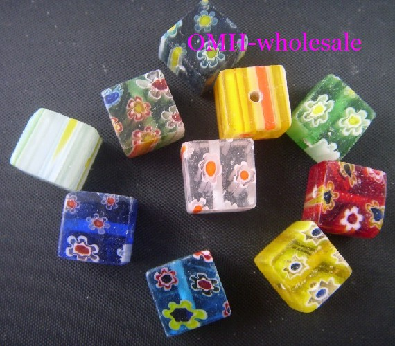 OMH wholesale free ship 6mm 8mm 10mm 100pcs mixed flowers millefiori square cube glass beads ZL65(China)