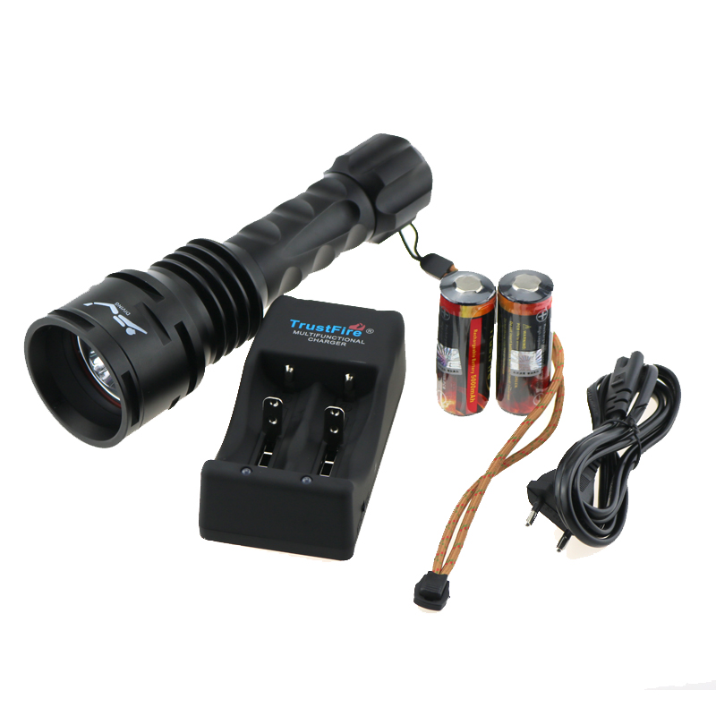 TrustFire DF003 3T6 3000 lumen Underwater 100m Video Diving Flashlight 3xCREE XM-L T6 LED Torch +2x 26650 Battery + Charger