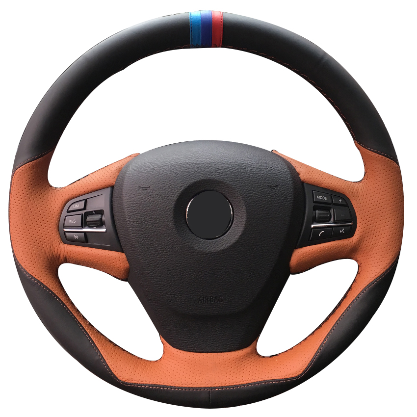Black Leather Brown Leather Car Steering Wheel Cover for BMW F25 X3 2011 2017 F15 X5