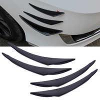 DWCX 4 stücke Auto Schwarz PU Gummi Universelle Große Frontschürze Schutz körper Spoiler Flossen Lip Canards Splitter Fot Für VW Audi BMW