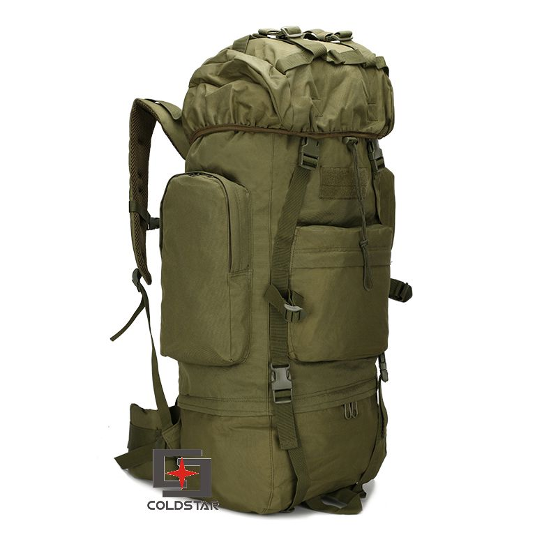 Army Green  65L Large Capacity Mountaineering Bag High quality Outdoor Backpack Waterproof Travel Hiking Camping Tactical Bag cougar 530m army green