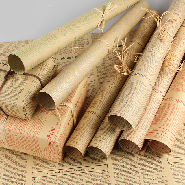 20sheets Lot Gift Wrapping Paper Roll Vintage Newspaper Double Sided Wrap Decor Art Kraft For
