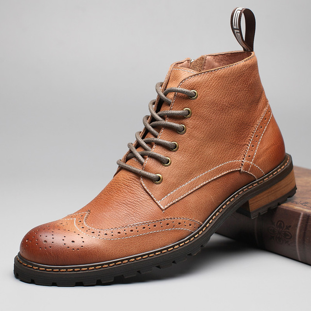 Winter Full Grain Leather Ankle Boots Men Retro Brogues Carving Flower Martin Boots Classic Chukkas