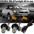 Acessórios ShinMan Para LADA priora 2007 ~ 2014 Carro LEVOU luz 20 W LED de Circulação Diurna Luzes DRL & Frente Sinais da volta de Tudo Em Um
