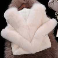 2016 Real Fur Coat Fashion Women Natural Fox Collar with Rabbit Fur Vest Coat Girls Short Style 100% Fur Gilet Beige/Red M XXXL