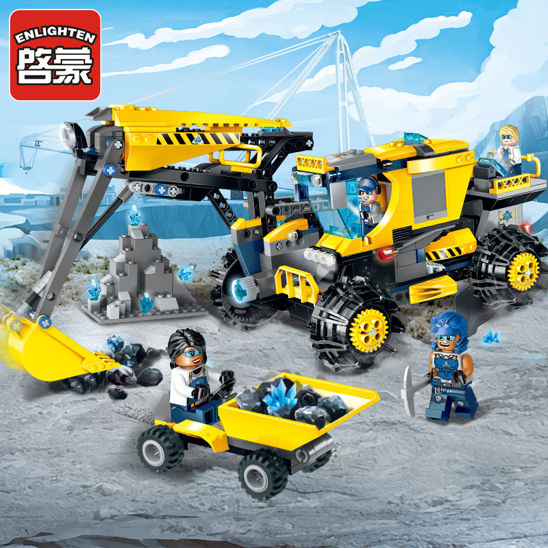 Enlighten Construction Engineering Building Block Technic Kyanite Squad Excavator 4 Figure 457pcs Educational Bricks Toy -No Box