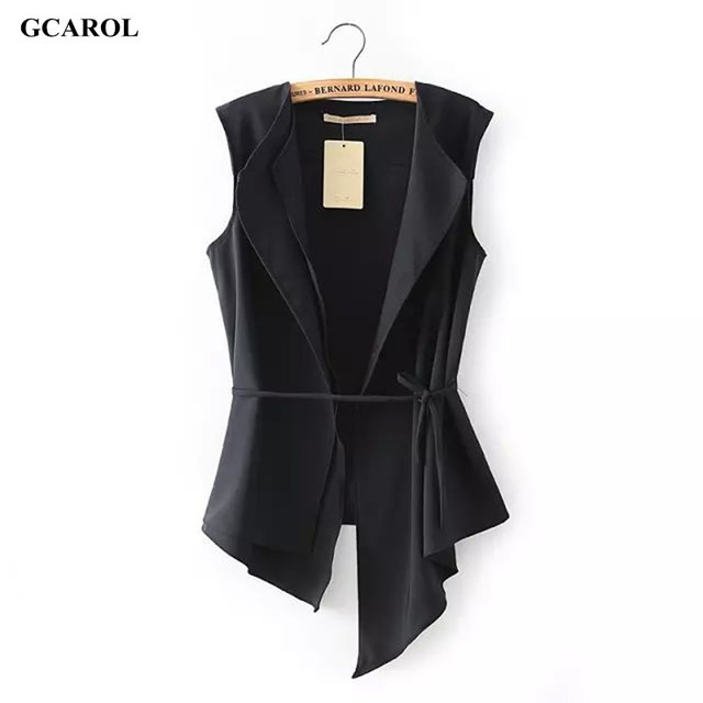 Women Irregular Length Vest With Sashes Fashion Summer Spring Thin Waiscoat Black&White Casual Street Wear Brand Vest  жилет женский жилет джинсовый