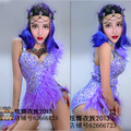 Feminino trajes sexy partido nightclub cantor dancer stage roupas estrelas bar mostrar pena roxa Com broca Um-peça de vestuário