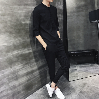 2019 Men Casual Sets Spring Tracksuit Male Tee 3/4 Sleeve Short Pants Casual Sportswear Suits Men Linen Set Patchwork Outwear 1