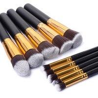 10pcs Cosmetic Makeup Brushes Set Contour Brush Pinceau Fond De Teint Wooden Handle Pincel Maquiagem