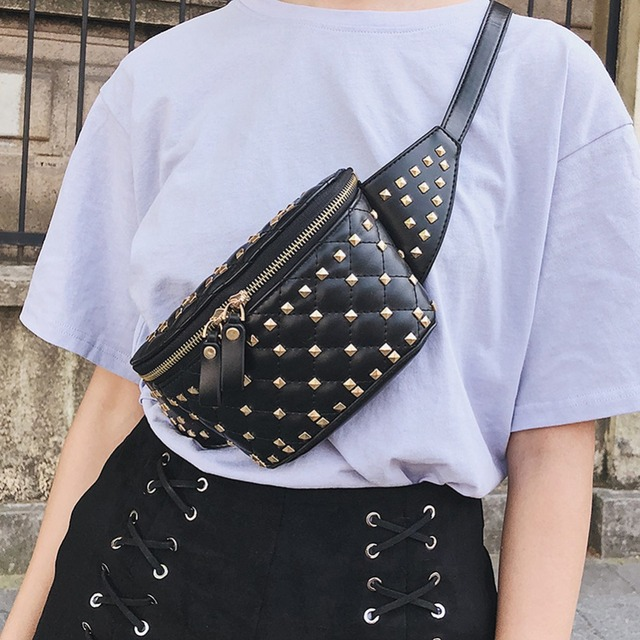Fashion Punk Rivet Waist bag Women Girls Fanny Pack PU leather Chest Belt Bag Street Black White Waist Packs Heuptas Pochete