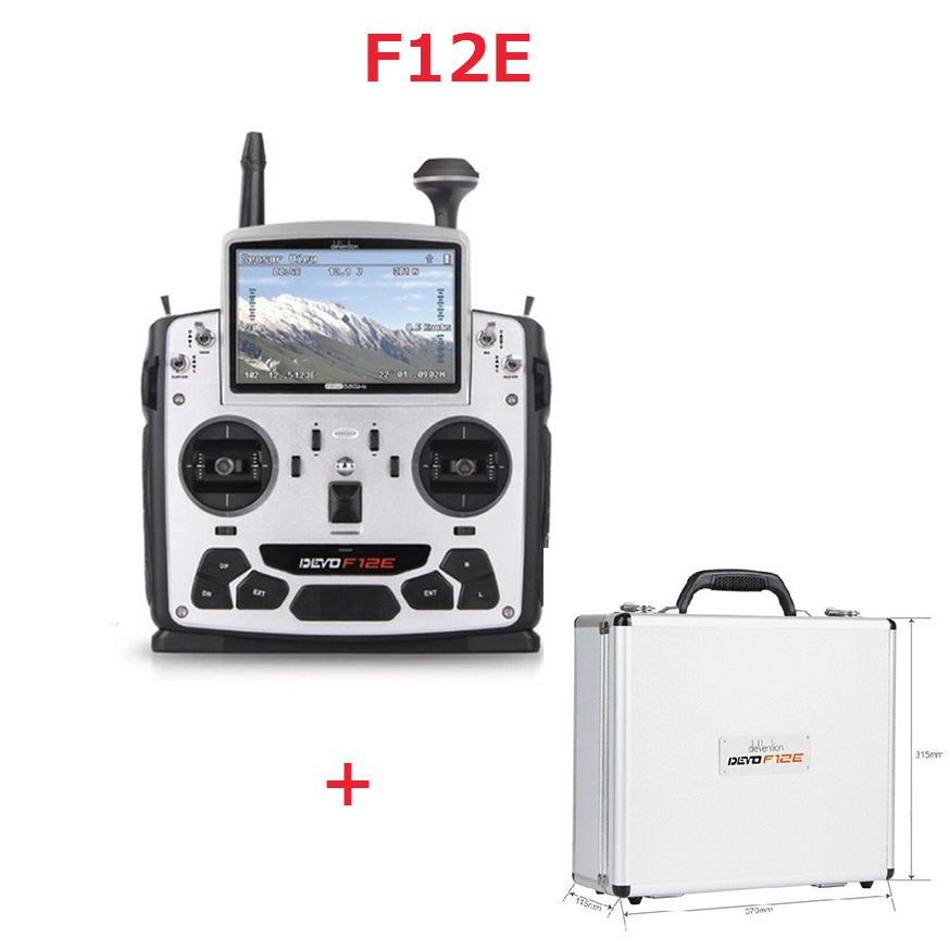 Original Walkera DEVO F12E transmitter (With RX1202 receiver + Aluminum Case )5.8 GHz 12 Channel Transmitter with 5 LCD Display original walkera devo f12e fpv 12ch rc transimitter 5 8g 32ch telemetry with lcd screen for walkera tali h500 muticopter drone