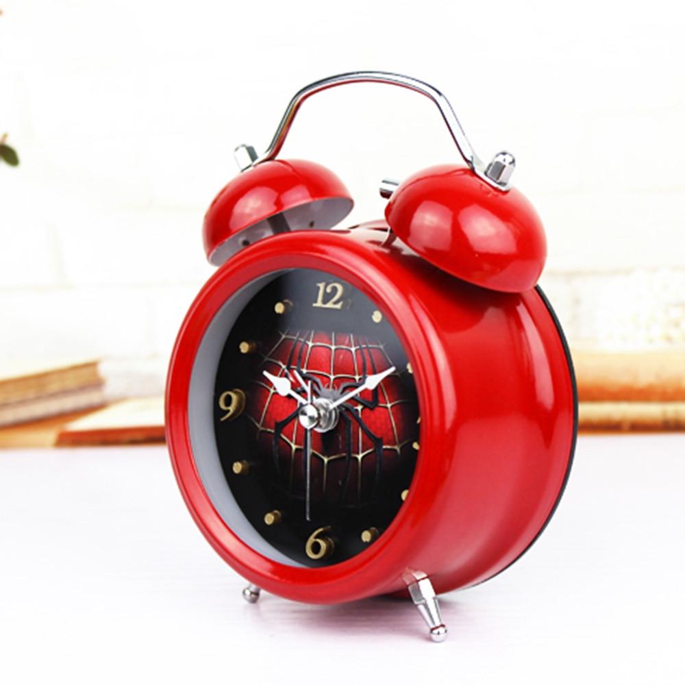 Mode Red Cobweb Style 3D Logam Bell Jam Alarm Minimalis Desktop Jam - Dekorasi rumah - Foto 2