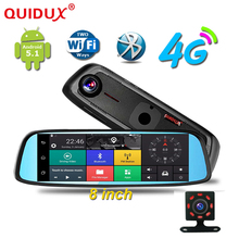 QUIDUX Android Car DVR 4G WCDMA 8 Inch Touch Rearview Mirror DVRS Dual Lens GPS Navigation Wifi Dash Cam Video Recorder Dashcam