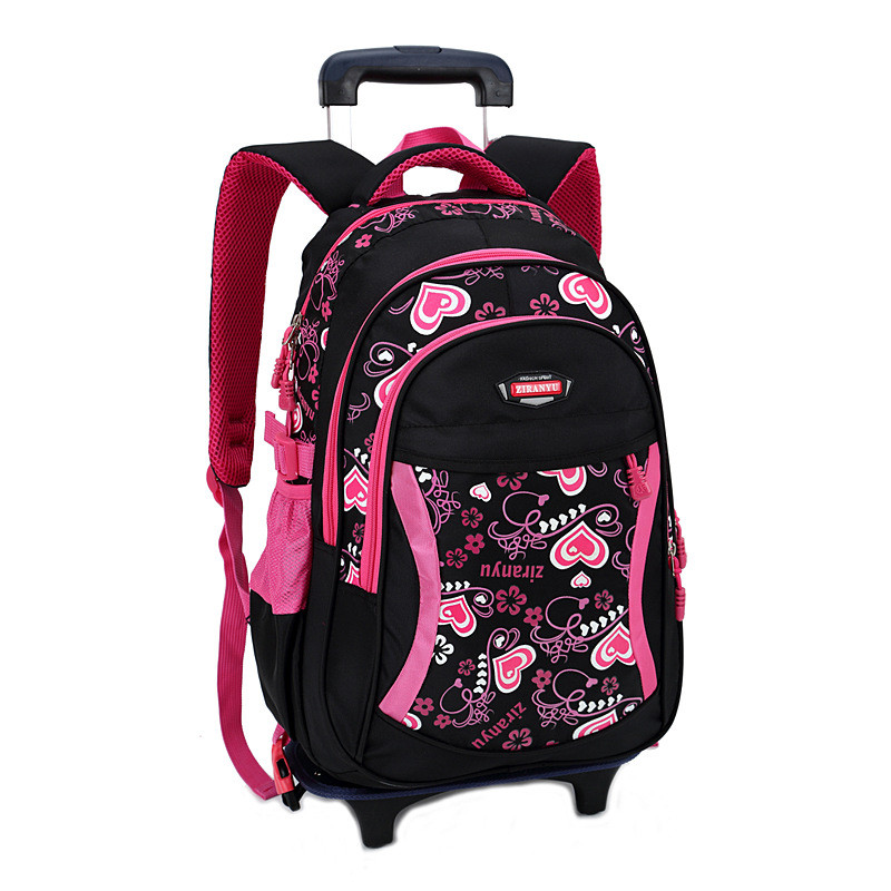 New Children Trolley Backpack School Bags For Grils Wheeled Bag Student Detachable Rolling Backpacks Women travel