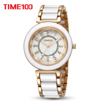 New Arrival Time100 Luxury Jewelry Ceramic Natural Fritillaria Strap Women Quartz Dress Rhinestone Bracelet Watches W50149L