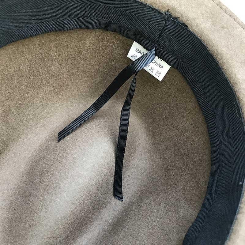 ba46b4352 FGHGF Women's Pure Wool Felt Hat Winter Hat Clear Wide Brim Fedoras Trendy  Ladies Church Derby Bowknot Hat Jazz Cap Gray Black