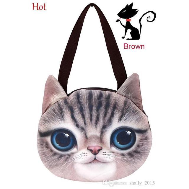 New Design Shoulder Bags Cat Shape Female Retro Cartoon 3D Animal Printing Messenger  Bags Women Handbag Girls Cat Bag SV014817