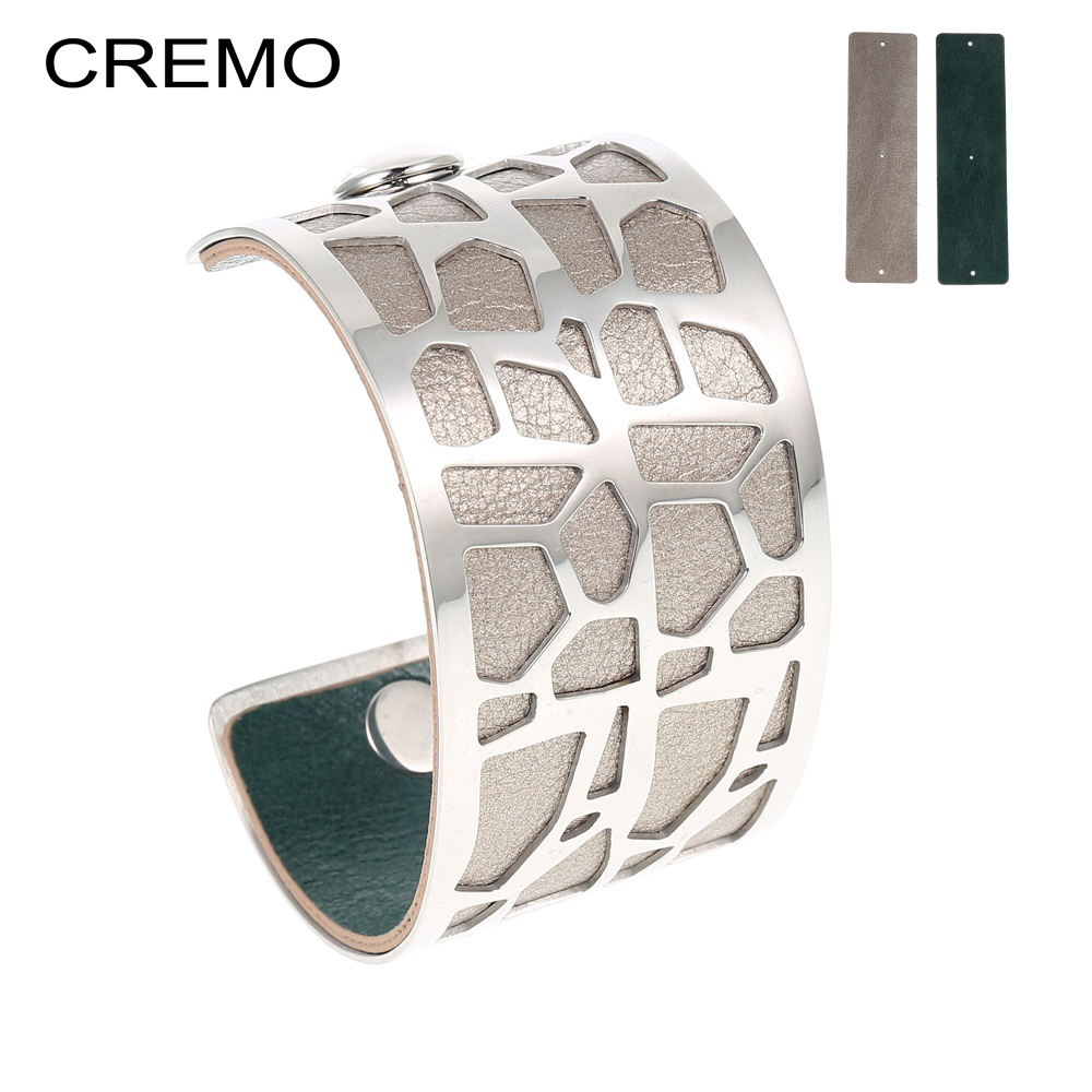 Cremo Giraffe Bangles & Bracelets Femme Bijoux Cuffs Bangle Interchangeable Reversible Leather Pulseiras Bracelet DIY Jewelry