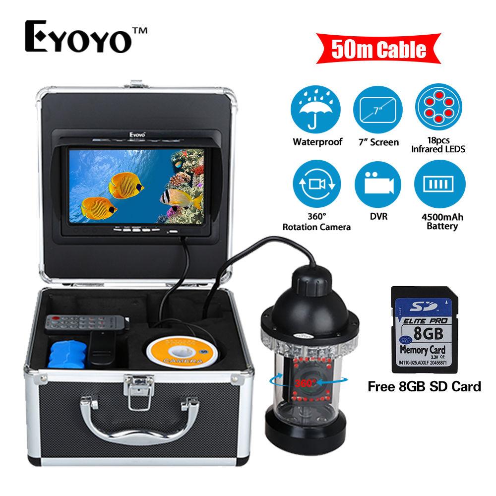 EYOYO 50M/165FT 7 LCD Underwater Fishing Camera 360 degree Rotation Fishfinder 18pcs IR Infrared LED DVR Video Recorder 8G Card levett caesar prostate massager for 360 degree rotation g spot