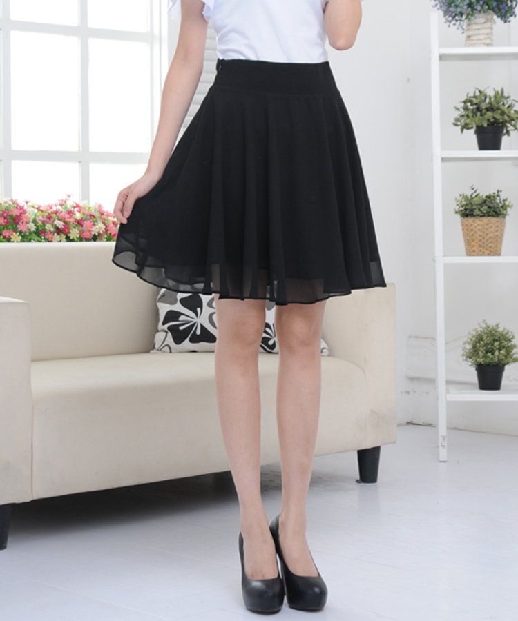 2017 Women Spring Summer Skirt Side Zipper Casual Midi -6390