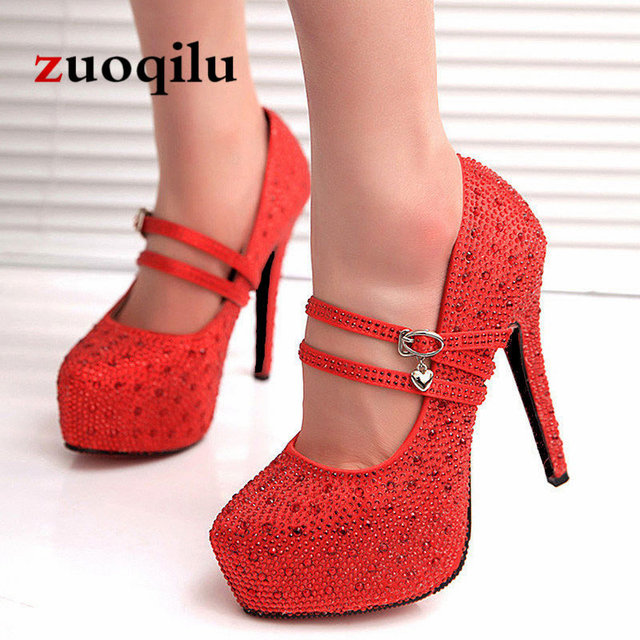 2019 crystal pumps women shoes platform high heels wedding shoes bride red silver platform high heels ladies shoes woman