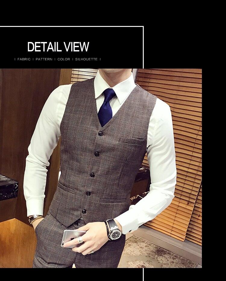 531d1c3bbda Male Single Button Casual Suits 3 Piece (Jacket+pant+vest) British Retro  Lattice Suit Sets Mens Blazer Dress Wedding Suits