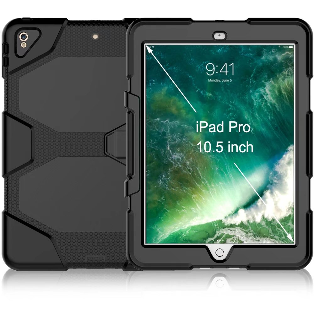 Hybrid Plastic+Silicon Heavy Duty Shockproof Dual Layer Rugged Military Armor Back Cover Case For iPad Pro 10.5 10.5 inch 2017 tire style tough rugged dual layer hybrid hard kickstand duty armor case for samsung galaxy tab a 10 1 2016 t580 tablet cover